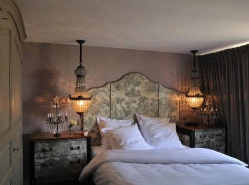 statement vintage chanderliers as hanging bedside lamps add chic and a refined touch to the bedroom