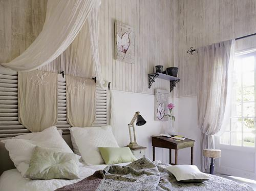 Interesting idea for a DIY headboard from shutters and some fabric