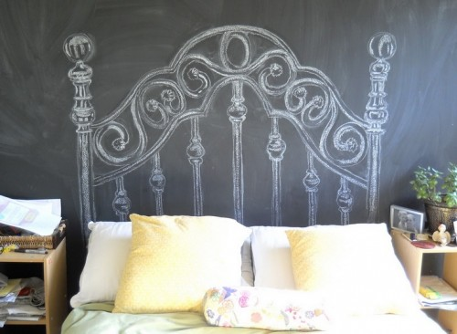 Headboard can even be drawed on a chalkboard wall!