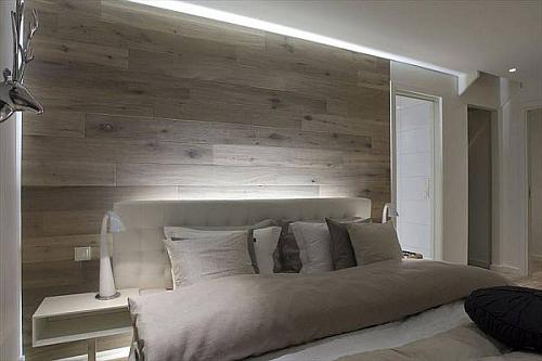 Wood planks or laminate make awesome headboard