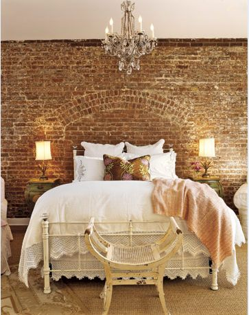 Brick wall is a headboard by itself