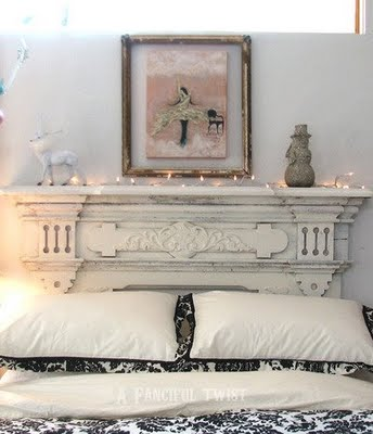 Fireplace-like headboard design
