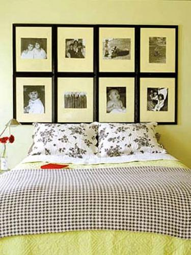 A headboard made simply of family pictures h