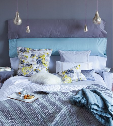 Several fabric stripes can hide an ugly headboard and make your bed look good again