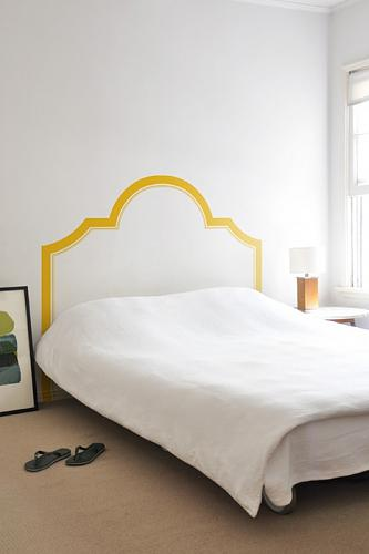 Super simple headboard wall decal for a minimalist bedroom