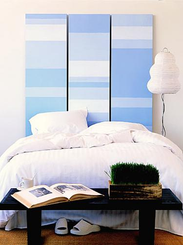Stripes looks good on any headboard