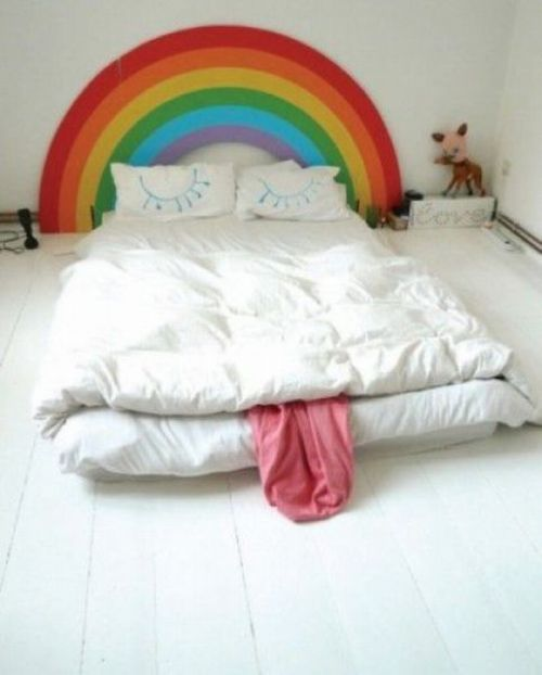 Super cute and cool idea for a bed and a headboard