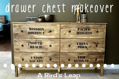 stenciled and stained IKEA chest (via abirdsleap)