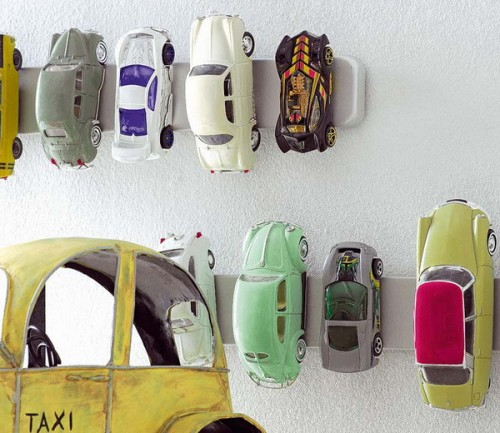 Magnet knife racks could be used to store matchbox cars right on a wall.