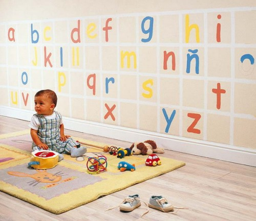 Here is a cool idea for a wall decal that might help your child to learn the alphabet faster.