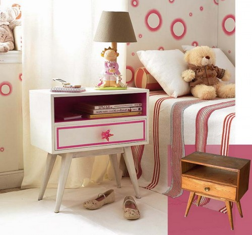 A plain white side table could easily become a great addition to a girl's room if you add some pink stripes on it.