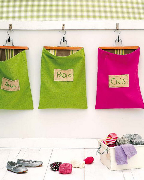 Colorful bags are great organizers for a kids room.