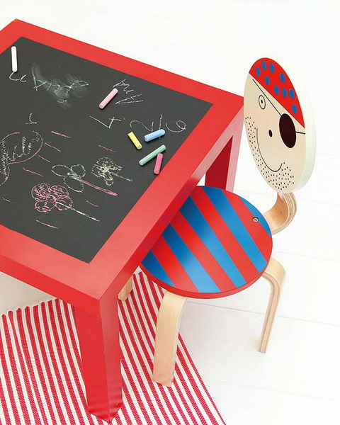 Hacking IKEA's LACK side table with a chalkbaord tabletop is an awesome idea. Kids could draw right on the table.  An upgrading a cheap wooden stool to resemble a pirate is also a cool decor idea.
