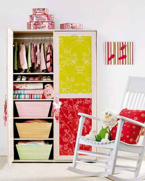 Applying craft paper to wardrobe's door is a simple DIY way to spice up a plain piece of furniture.