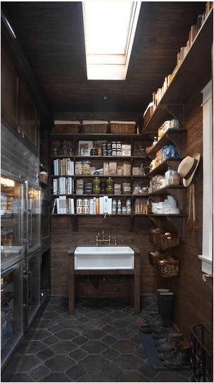 moody food pantry design for a moody kitchen