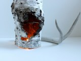 recycled birch piece candle holder