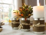 food can and fabric candle holder