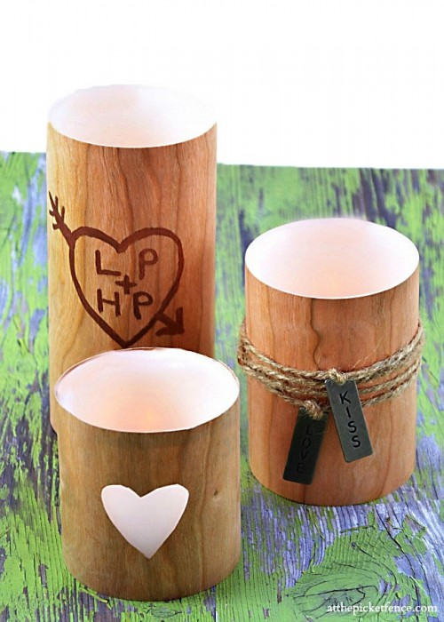 faux wood candles (via atthepicketfence)
