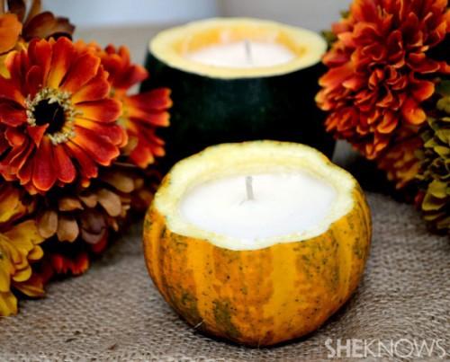 mini pumpkin candles (via sheknows)