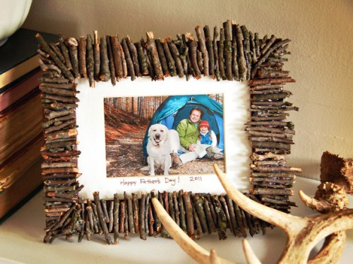frame decorated with twigs