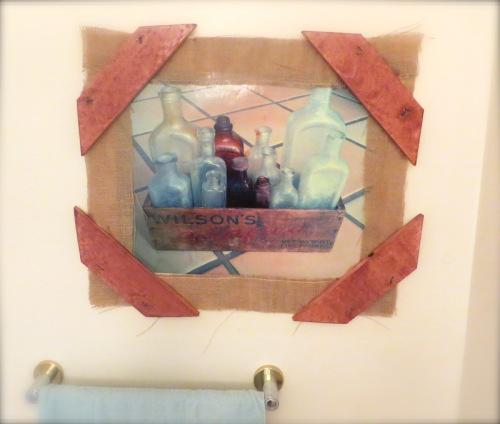 wood and burlap frame via strippedcanvas