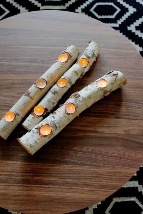 birch log candleholder (via poppyhaus)