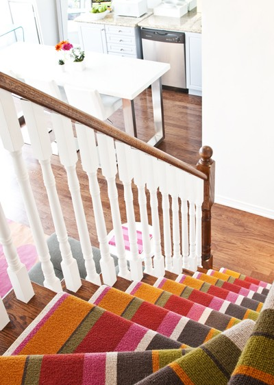 Multicolored carpet runner for stairs might a great way to spice up your home decor.