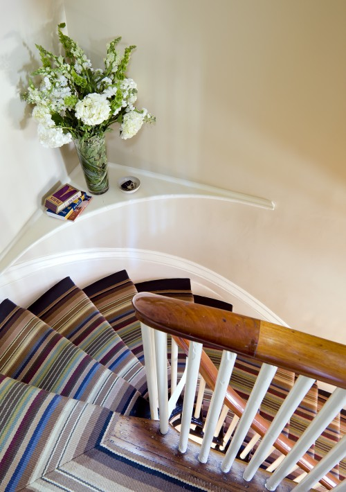 The cool thing about stair carpets is that you can install them on angled staircases.