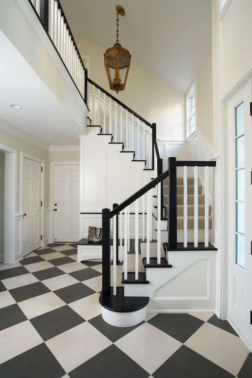 Stripes visually make stairs looks longer.