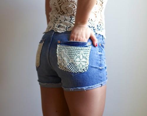 denim lace shorts (via victoriabrikho)