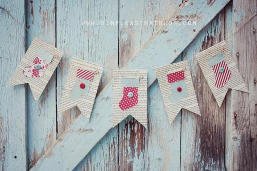 vintage stocking garland (via shelterness)