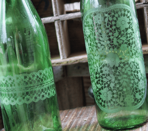 doily printed wine bottles
