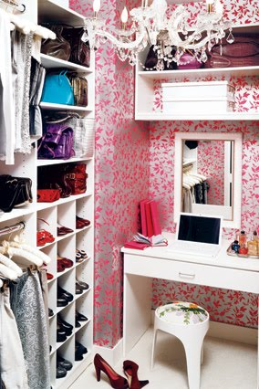 Cool Walk In Closets  floral pink wallpaper make this room much more  awesome than it already is