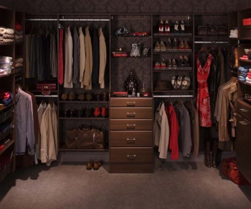 moody walk in closet decorated for a real man