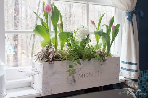 diy white wine crate planter