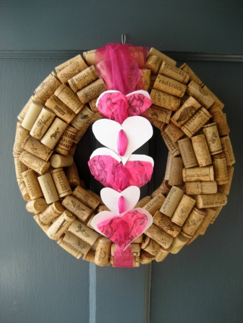 DIY Cork Valentine Wreath