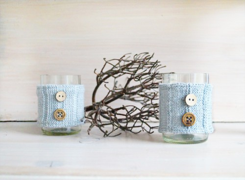 Cozy DIY Candleholders With Knit Wraps