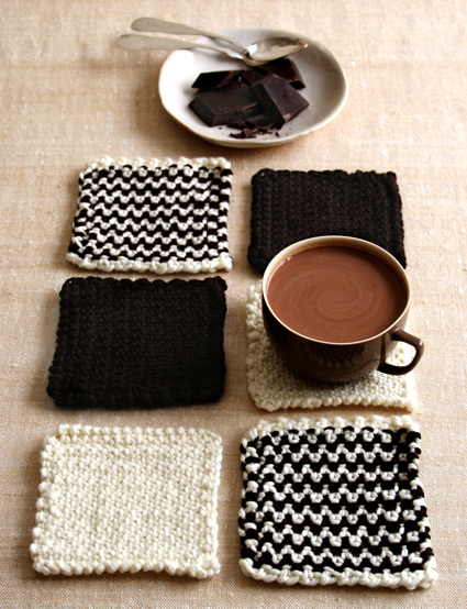 DIY Chocolate Pattern Knitted Coasters