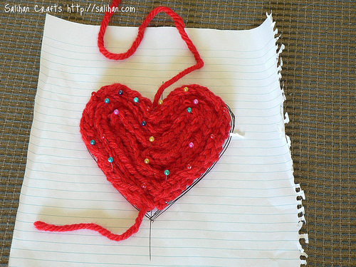 Knitted Heart Shaped Coaster Tutorial