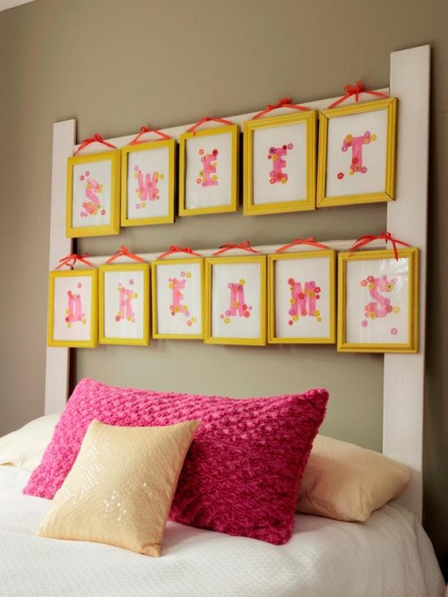 headboard of picture frames (via diynetwork)