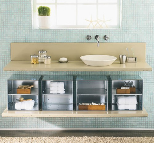 20 creative bathroom storage ideas shelterness for Creative shelf ideas
