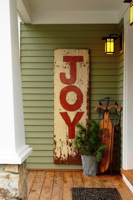 painted JOY sign for outdoors (via loveoffamilyandhome)