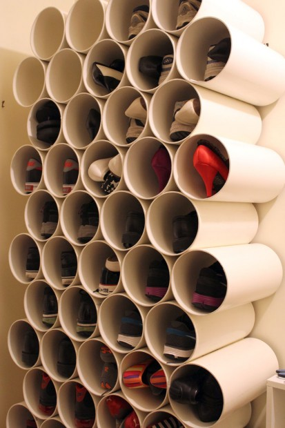 old pipes shoe storage
