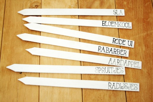 garden markers from paint stirrers (via bywilma)