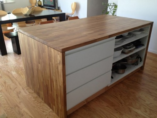 kitchen island hack (via ikeahackers)