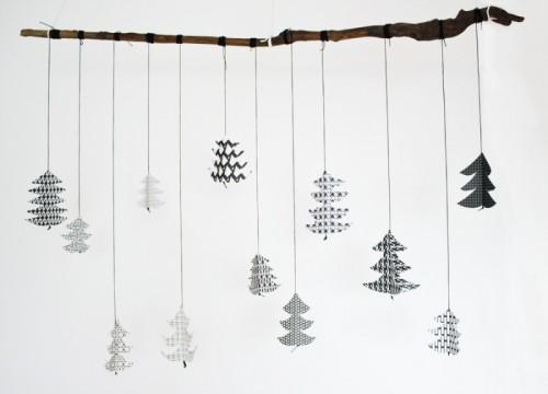 black and white Christmas mobile
