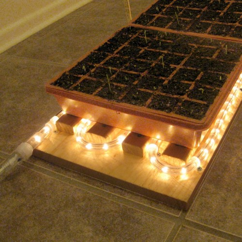 heat mat seed starting system (via vegetablegardener)