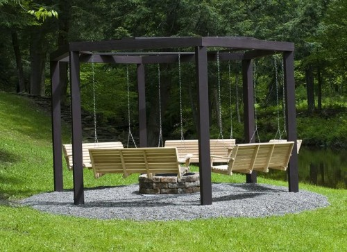 outdoor hanging benches (via forums)