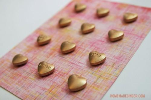 gold heart candies frame (via shelterness)