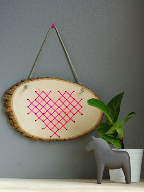 cross stitch heart in wood (via oleanderandpalm)